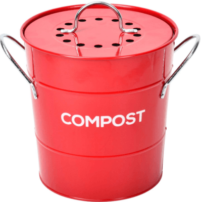 red kitchen compost bin